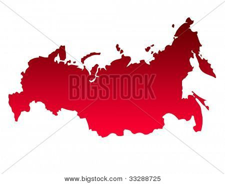 Russian federation map in gradient red, isolated on white background.