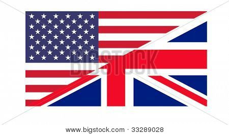 American and British flags joined together, isolated on white background.