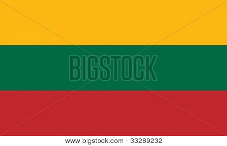 Sovereign state flag of country of Lithuania in official colors.