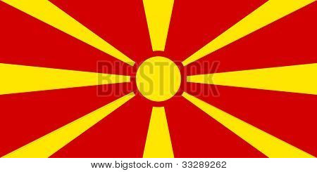 Sovereign state flag of country of Macedonia in official colors.
