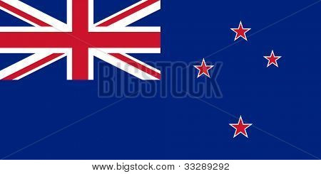 Sovereign state flag of country of New Zealand in official colors.