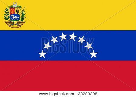 Bandeira do Estado soberano de país da Venezuela em cores oficiais.