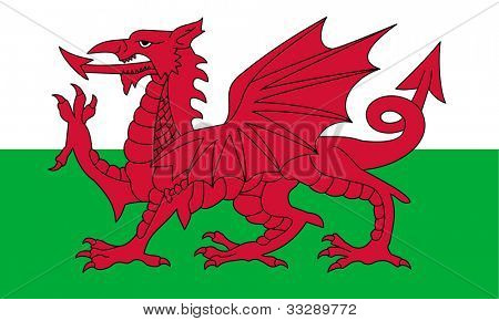 Wales flag or national emblem, isolated on white background.
