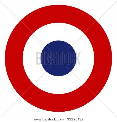 French tricolore roundel symbol isolated on a white background.