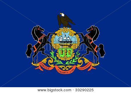 Bandera del estado de Pennsylvania de América, aislado sobre fondo blanco.