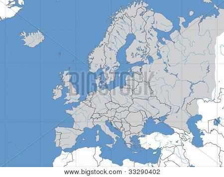Map of Europe showing lines of longitude and latitude.