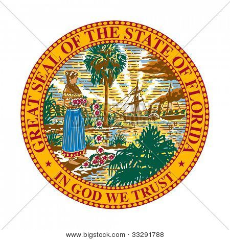 Seal of American state of Florida; isolated on white background.