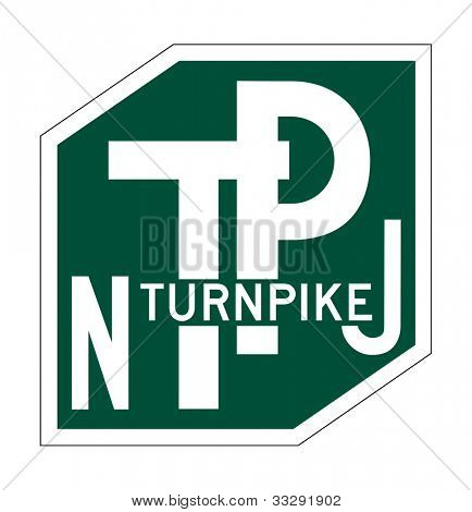 New Jersey Turnpike sign of shield isolated on white background.