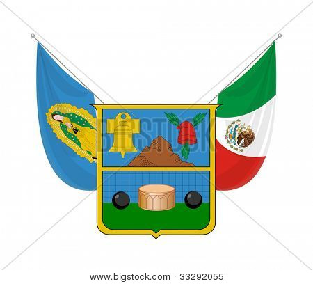 Coat of arms of Mexican state of Hidalgo; isolated on white background.