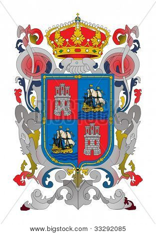 Coat of arms of Mexican state of Campeche ; isolated on white background.