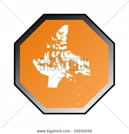 Canadian state of Nunavut road sign isolated on a white background.