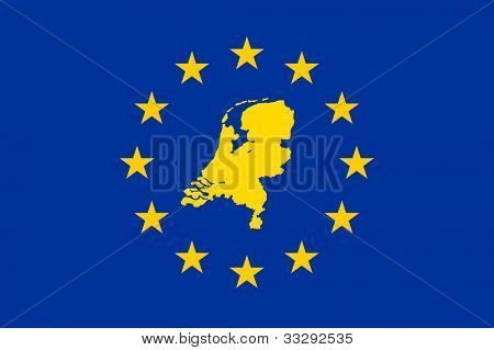 Netherlands map on on European Union flag with yellow stars.