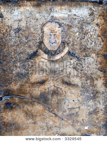 Image Of Man On The Ancient Wall