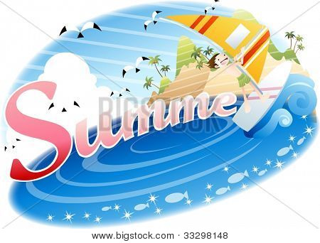 Exciting Summer Vacation and Happy Travel - playing in waves and riding on surf with cute young child in beautiful tropical island resort background with blue sky and shiny water : vector illustration