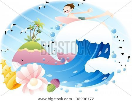 Exciting Summer Vacation and Happy Travel - riding on big wave with cute young boy in beautiful tropical island resort background with blue sky and and funny marine animals : vector illustration