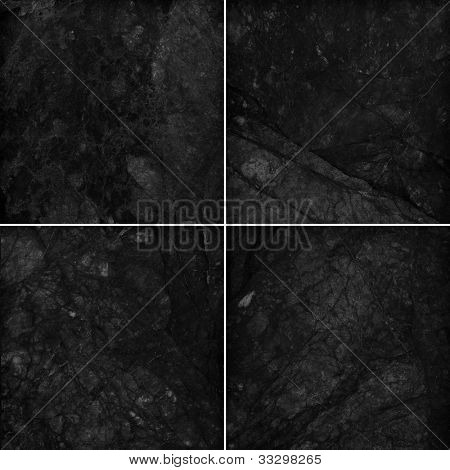 Four different black marble texture. (high.res.)