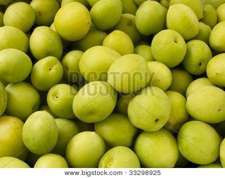 Heap Group Of Fresh Green Plum