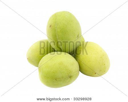 Group Of Fresh Green Plum