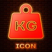 Glowing Neon Weight Icon Isolated On Brick Wall Background. Kilogram Weight Block For Weight Lifting poster