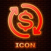Glowing Neon Return Of Investment Icon Isolated On Brick Wall Background. Money Convert Icon. Refund poster