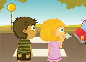 picture of street-walker  - Illustration of boy and girl crossing the street  - JPG