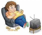 image of fat-guts  - Fat and unhealthy man watching tv  - JPG