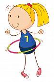 pic of hulahoop  - Cartoon of an active kid  - JPG