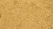 Yellow Sand, Backdrop Texture. Textured Sand Surface, Top View, Fine Yellow Beach Sand In A Sandbox poster