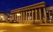 The Bourse Of Paris- Brongniart Palace At Night, Paris, France. poster