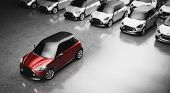 Small city cars fleet. A red car in front. Choosing new car concept. 3D illustration poster