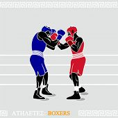 Greek art stylized boxers at the boxing ring
