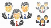 Customers Mosaic Of Ragged Parts In Variable Sizes And Color Tones, Based On Customers Icon. Vector  poster