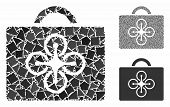 Drone Case Mosaic Of Unequal Items In Variable Sizes And Color Tints, Based On Drone Case Icon. Vect poster