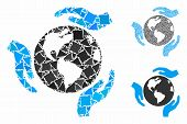 Earth Protection Mosaic Of Inequal Elements In Various Sizes And Color Tints, Based On Earth Protect poster