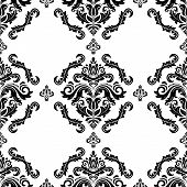 Classic Seamless Pattern. Damask Orient Ornament. Classic Vintage Black And White Background. Orient poster
