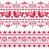 Scandinavian Folk Seamless Vector Long Pattern, Repetitive Floral Cute Nordic Design With Birds In R poster