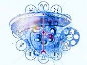 stock photo of ares  - Backdrop composed of Zodiac symbols gears lights and abstract design elements and suitable for use on astrology child birth fate destiny future prophecy horoscope and occult beliefs - JPG