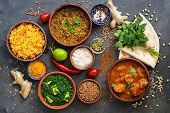 Assorted Various Indian Food On A Dark Rustic Background. Traditional Indian Dishes - Chicken Tikka  poster