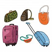 Set Of Bags. Vector Illustration Travel Bag, Women Bag, Waist Bag. Hand Drawn Set Of Different Bags. poster