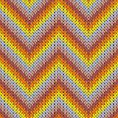 Cool Zigzag Chevron Stripes Christmas Knit Geometric Seamless Pattern. Ugly Sweater Knitwear Fabric  poster