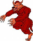 foto of wolfman  - illustration of a cartoon werewolf wolfman running attacking on isolated white background - JPG
