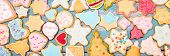Header, Colorful Christmas Cookies With Royal Icing, Frosting And Sugar Pearls poster