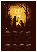 Calendar 2020 Vector Basic Grid. Birth Of Christ. Nativity Scene With Holy Family. Paper Art Illustr poster