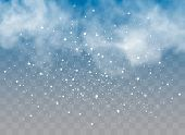 Falling Snow On A Transparent Background. Snow Clouds Or Shrouds. Fog, Snowfall. Abstract Snowflake  poster