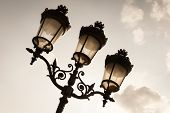 Exquisite Antique Metal Street Lamp Post On Parvis Notre Dame (place Jean Paul Ii) Square In Front O poster