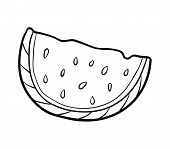Coloring Book For Children, Cartoon Colorless Watermelon poster