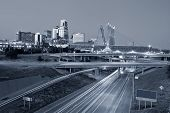 pic of kansas  - Toned image of the Kansas City skyline and busy highway system leading to the city - JPG
