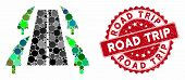 Mosaic Tree Alley Road And Grunge Stamp Seal With Road Trip Phrase. Mosaic Vector Is Formed With Tre poster