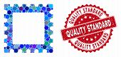 Mosaic Postage Stamp And Grunge Stamp Watermark With Quality Standard Phrase. Mosaic Vector Is Forme poster