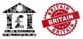 Mosaic Pound Bank Building And Grunge Stamp Seal With Britain Text. Mosaic Vector Is Formed With Pou poster